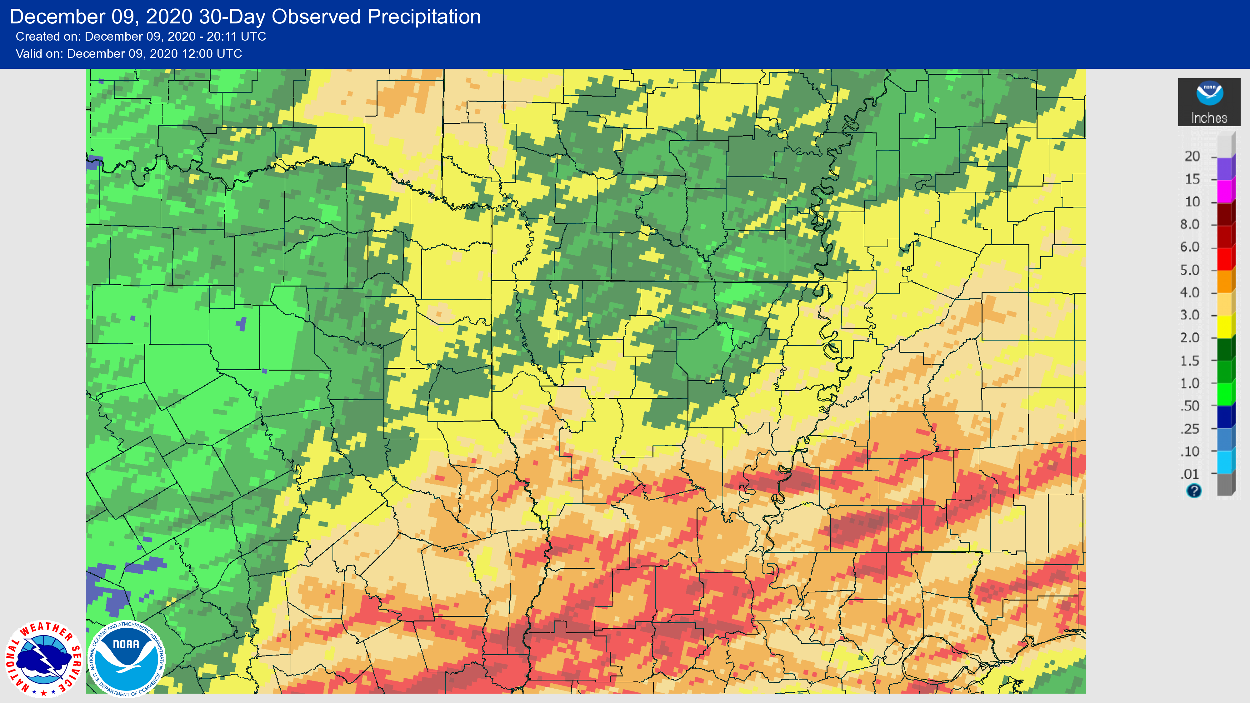 Rainfall in last 30 days to December 9, 2020.
