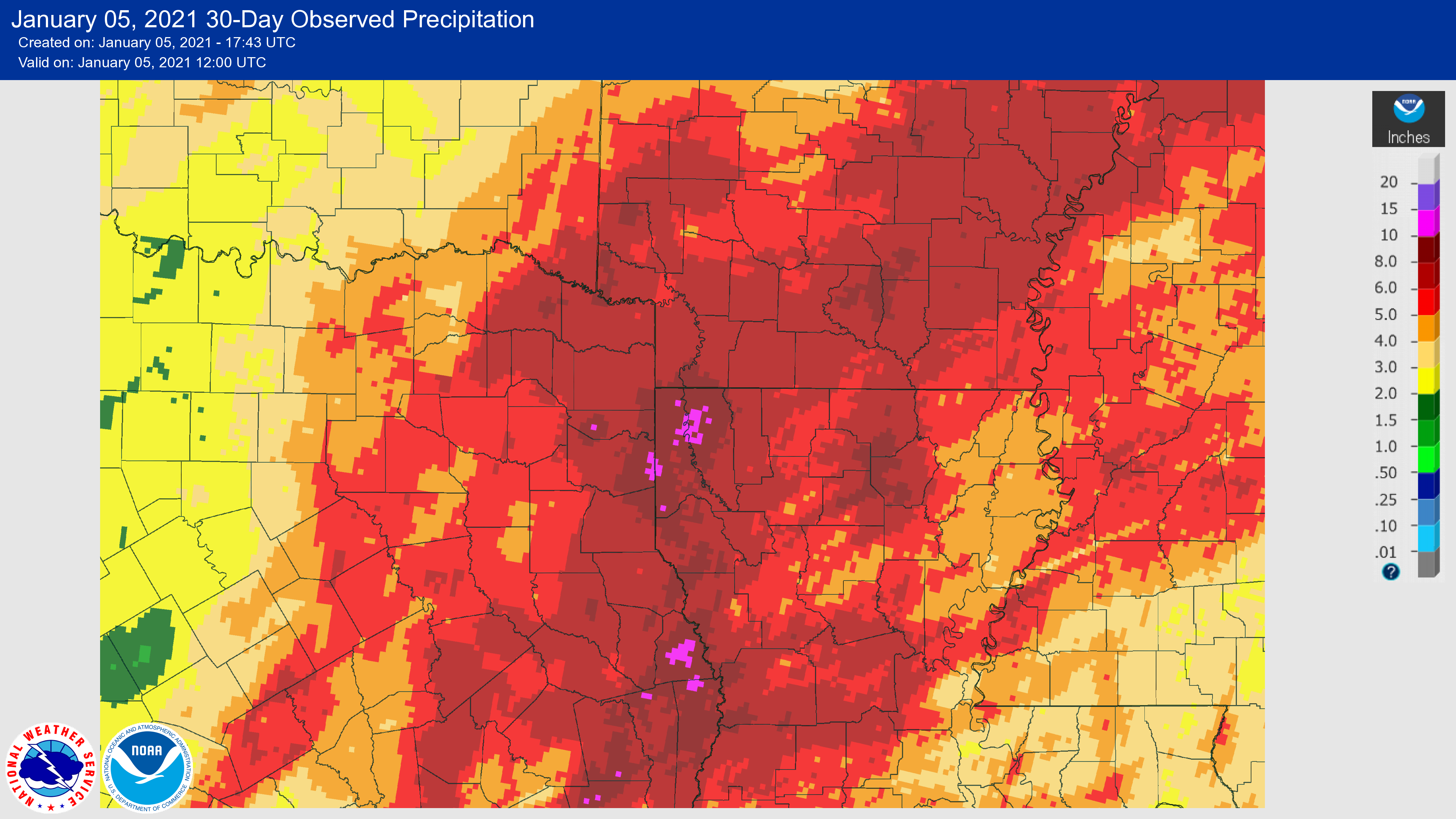 Rainfall in last 30 days to January 5, 2021.